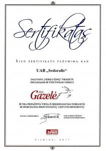 Gazele-sertifikatas-2016